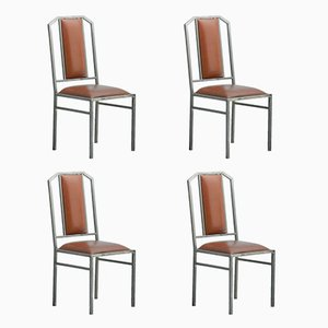 Vintage Dining Chairs in Leather & Brushed Metal from Maison Jansen, Set of 4