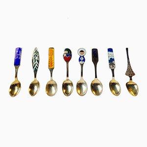 Modernist Gilt and Enamel 925S Christmas Spoons from Anton Michelsen, Set of 8