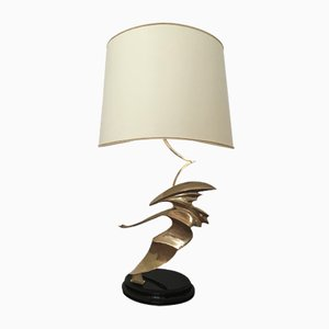 French Art Deco Brass Table Lamp with Swan Sculpture, 1930s