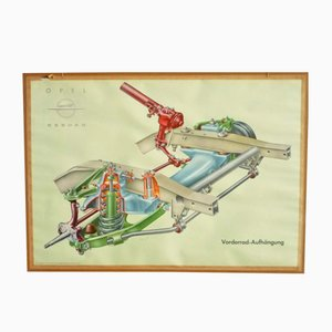 Driving School Wall Chart of Front Suspension from Opel, 1950s