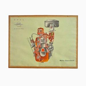 Poster illustrativo per scuola guida raffigurante in motore di Opel, anni '50