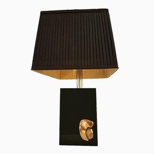Lampada in ottone dorato e plexiglas, anni '80