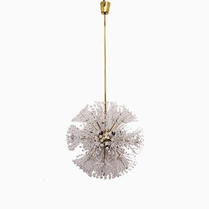 Großer Vintage Messing & Glas Sputnik Kronleuchter von Emil Stejnar für Rupert Nikoll