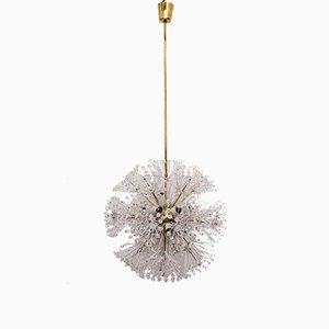 Lámpara de araña Sputnik vintage grande de vidrio y latón de Emil Stejnar para Rupert Nikoll