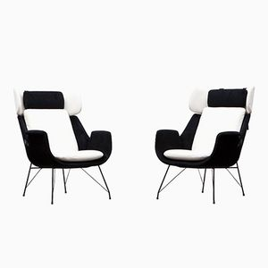 Black & White Lounge Chairs by Augusto Bozzi for Saporiti, Set of 2