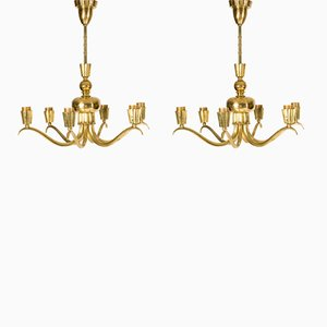 Brass Chandeliers, 1940s, Set of 2