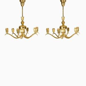 Brass Chandeliers, 1940s, Set of 2