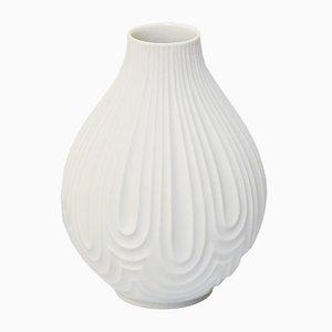 Jarrón No. 1960 Mid Century de porcelana biscuit blanca con relieves Op Art de H & Co. Heinrich, años 70