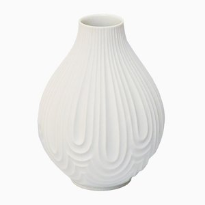 No. 1960 Mid-Century White Bisque Op Art Relief Vase by H & Co. Heinrich, 1970s