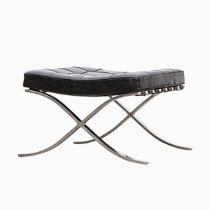 Black Leather Ottoman by Ludwig Mies van der Rohe for Knoll, 1920s