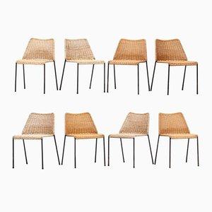 Stühle aus Korbgeflecht mit Metallrahmen von Herbert Hirche für Wilde & Spieth, 8er Set