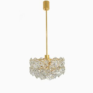 Faceted 3-Tiered Gilded Brass Chandelier with 41 Crystal Pieces from Kinkeldey, 1970s