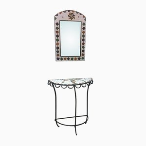 Iron & Ceramic Console Table & Mirror, 1970s