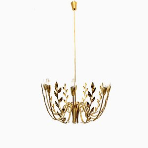 8-Armed Chandelier with Hammered Leaves, 1950s