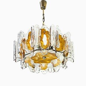 Lámpara de araña vintage de vidrio naranja con relieve de J. T. Kalmar