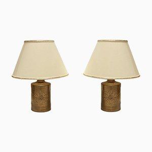 Lampade da tavolo vintage in ceramica placcata in oro a 22K di Bitossi per Bergboms, set di 2