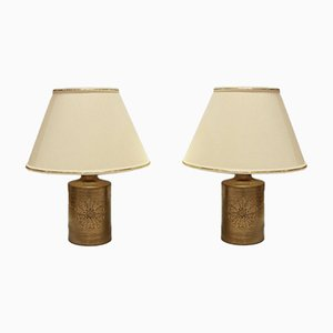 Vintage 22-Karat Gold Glazed Ceramic Table Lamps by Bitossi for Bergboms, Set of 2