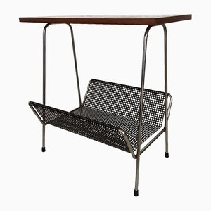 Mid-Century Metal and Teak Magazine Rack