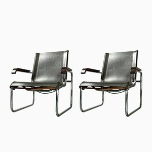S 35 Armchair in Tubular Steel and Brown Leather by Marcel Breuer for Thonet, 1970s