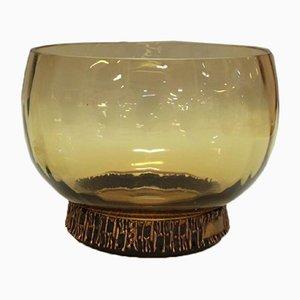 Bernsteingelbe Vintage Glasschale mit Bronze von Pentti Sarpaneva für Oy Kumela & Turun Hopea