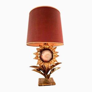 Lámpara de latón con piedra de ágata de P. Mas-Rossi, años 70