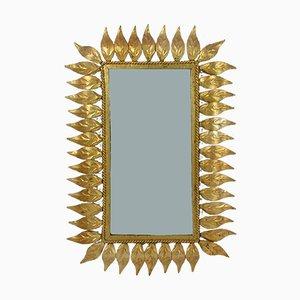 Espejo de pared español Mid-Century dorado, años 50