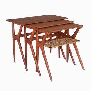 Teak Nesting Tables by Johannes Andersen for CFC Silkeborg, 1960s