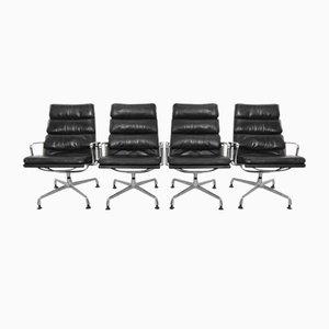 Vintage EA 216 Sessel mit Weichem Sitzkissen von Charles Eames für Herman Miller, 4er Set