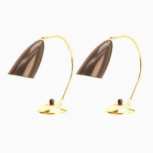 Lampes de Bureau Mid-Century en Laiton, 1950s, Set de 2