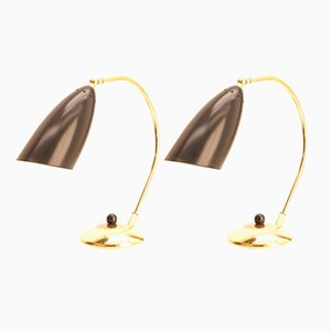 Mid-Century Table Lamps in Brass, 1950s, Set of 2
