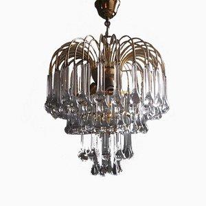 Lámpara de araña grande con gotas de cristal de Murano de Paolo Venini para Venini, años 60