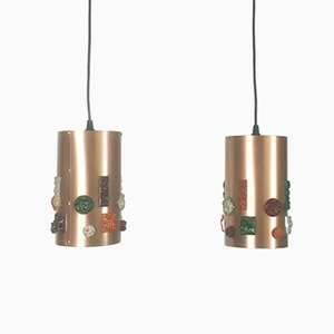 German Copper Pendant Lights, 1970s, Set of 2