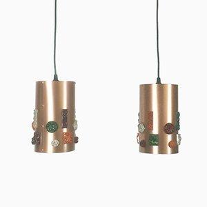 Lámparas colgantes alemanas de cobre, años 70. Juego de 2