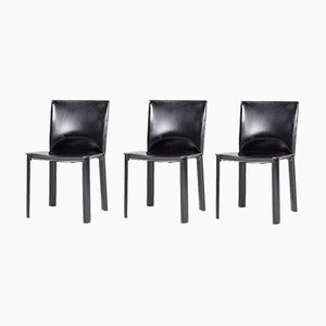Black Leather Side Chairs from De Couro, 1980s, Set of 3