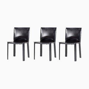 Schwarze Leder Beistellstühle von De Couro, 1980er