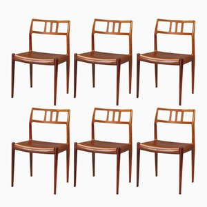 Rosewood Dining Chairs by N. O. Møller for J.L. Møllers, 1950s, Set of 6