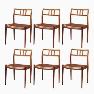 Sedie da pranzo in palissandro di N. O. Møller per J.L. Møllers, anni '50, set di 6