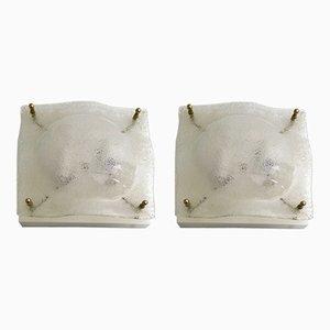 Apliques de cristal de Murano, años 70. Juego de 2