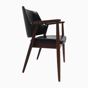 Scandinavian Teak and Black Skai Leather Armchair, 1960s