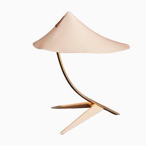 Lámpara de mesa con pantalla blanca, años 50