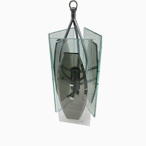Lámpara colgante italiana de vidrio y metal de Veca, años 70