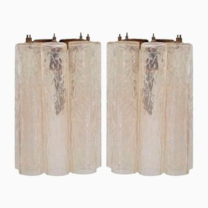 Apliques tubulares de cristal de Murano de Venini. Juego de 2