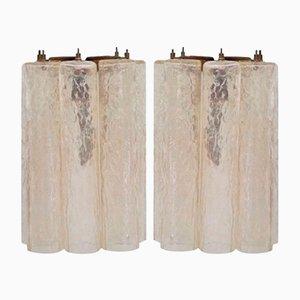 Tubuläre Murano Glas Wandlampen von Venini, 2er Set