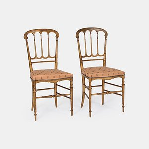 Vintage Salon Chairs in Gilt Wood, Set of 2