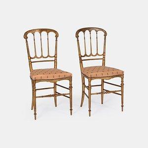 Vintage Stühle aus Goldfarbenem Holz, 2er Set