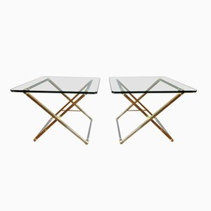 Table d'Appoint avec Structure en X Vintage en Laiton et Chrome de Peter Ghyczy, Set de 2