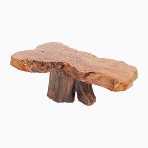 Mesa de centro vintage de madera de nudo de árbol natural con brillo