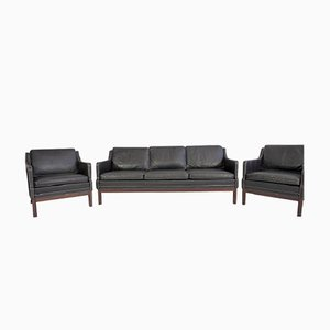 Vintage Black Buffalo Leather Sofa & Two Easy Chairs, Set of 3