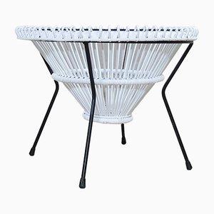 Mesa de centro de ratán lacado blanco de Franco Albini, años 50