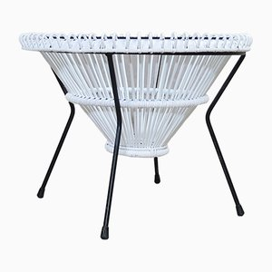 White Lacquered Rattan Coffee Table by Franco Albini, 1950s